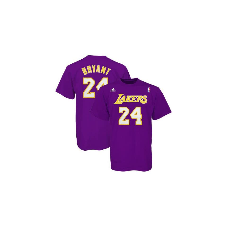 ccace1516 Kobe Bryant adidas Purple Name and Number Los Angeles Lakers T Shirt ...