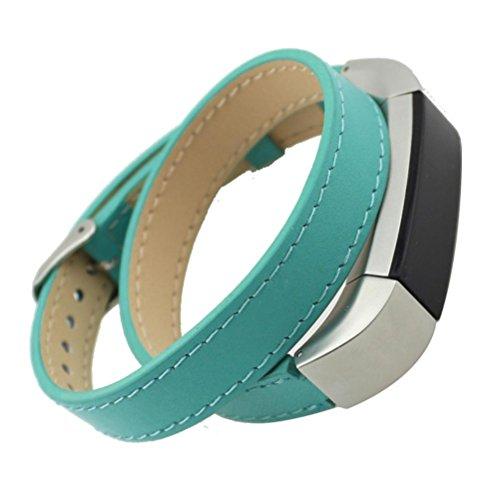 Transer® Bracciale Cinturino Orologi Pelle Vera Cintura Uomo Donne Strap Regolabile 280mm Bracciali Cinturini Accessori per Fitbit Alta (Verde)