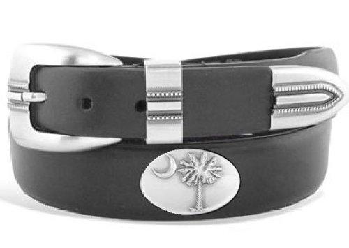 Palmetto Tree - Tip Leather Concho Belt Black - Size 34