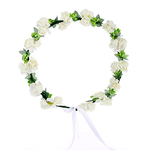 Cfrmall Flower Wreath Headband Floral Crown Garland Halo for Wedding Festivals (Cream White)