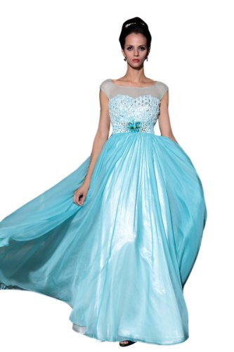 CharliesBridal Bateau Neck Floor Length Formal Dress - M - Ice Blue