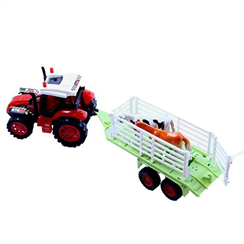 Dazzling Toys Farm Truck with Trailer Carrying Animals or Objects (May Vary) (D235)