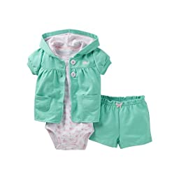 Carter\'s 3 Piece Cardigan & Shorts Set (Baby) - Whale-18 Months