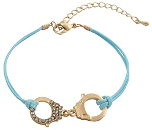 Ladies Mint with Gold Half Iced Out Handcuff Adjustable Bracelet