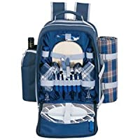Sutherland Baskets Alpine Blue Picnic Backpack for Two by Sutherland Baskets