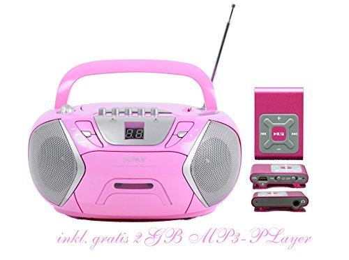 Kinder Mädchen Stereoanlage CD-Player Radio Kassettendeck Boombox DENVER TCP-38 Pink inkl. 2GB MP3-Player Pink