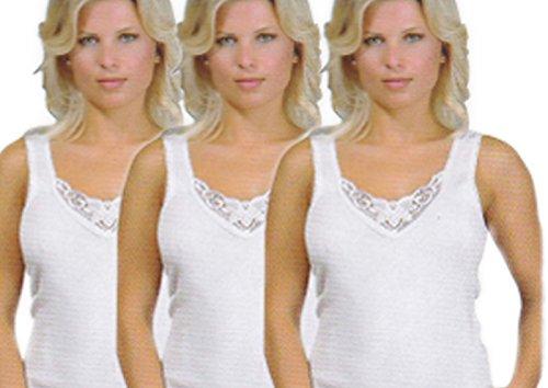 8 x Damen Unterhemden, Vollachselunterhemd mit schöner Spitze aus reiner Baumwolle, -ÖKO Tex Standard 100,