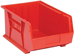 Quantum QUS255 Plastic Storage Stacking Ultra Bin, 16-Inch by 11-Inch by 8-Inch, Red, Case of 4
