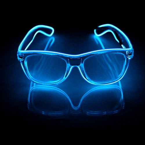 Glovision Blue Ultra Diffraction El Wire Glasses - The Rave Review Llc - Light Up Prism Glasses - Waterproof - Sound Activated