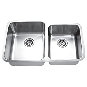 Yosemite Home Decor MAG8503L 18-Gauge Stainless Steel Undermount Double-Bowl Sink, 31-7/8-by-20-5/8-by-7-Inch, 9-Inch Left, Satin