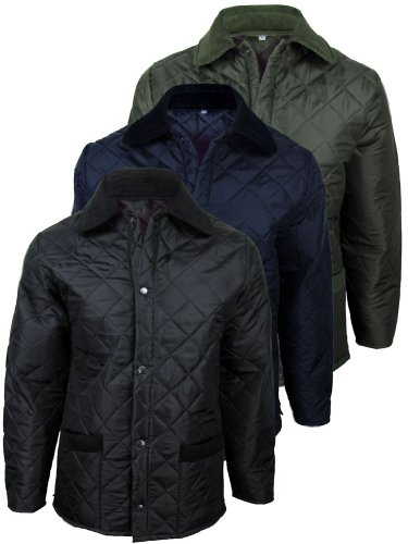 Mens Made In England Diamond Quilted Hunter Style Military Jacket/ Coat [Medium]