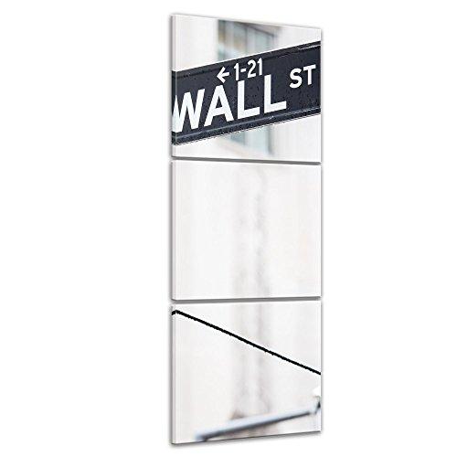 bilderdepot24-toile-deco-imprimee-tableau-toile-wall-street-rue-signe-40x120-cm-3-pieces-tableau-sur