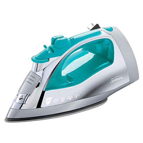 Sunbeam Steam Master 1400 Watt Large-size Anti-Drip Non-Stick Stainless Steel Soleplate Iron with Variable Steam control and 8' Retractable Cord, Chrome/Teal, GCSBSP-201-000 (Electric Irons compare prices)