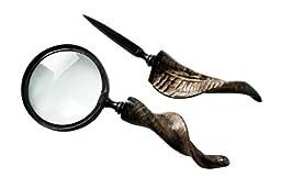 Magnifying Glass, Letter Opener Set - Horn Handle