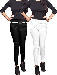 Xarans Stylish Black & White Cotton Lycra Zip Jegging Set of 2 Pcs