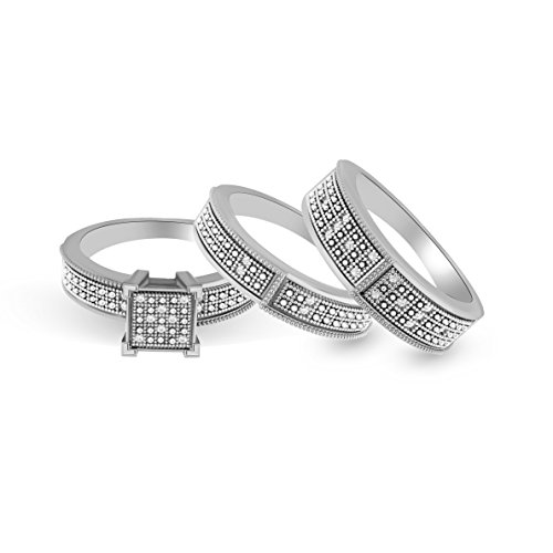 Pretty Jewellery Sterling Silver Square Genuine Diamond His Her Engagement Trio Wedding Band Rings Set (white-gold-plated-silver)