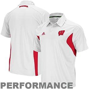 Wisconsin Badgers adidas White Football Adizero Sideline Polo Shirt by adidas
