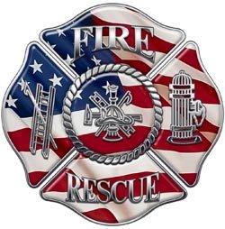 Fire Rescue Maltese Cross Decal - American Flag - 3