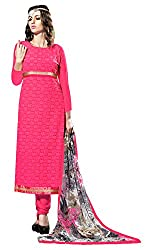 Dress Material Georgette Pink Embroidered + Lace Unstitched
