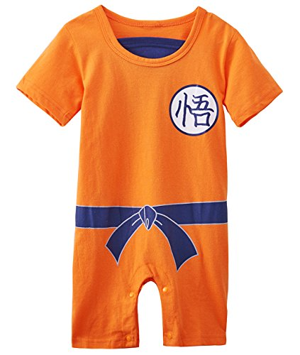 A&J Design Baby Boys' Dragon Ball Z Goku Son Short Sleeve Romper Costume