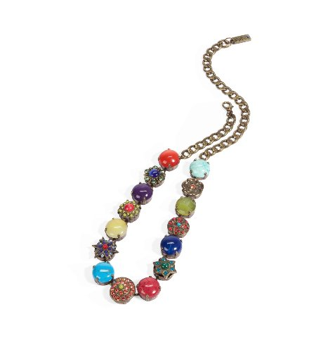 'Vintage' Collection Fascinating Collar Necklace by Amaro Jewelry Studio Decorated with Flower, Star and Shell Elements, Chinese Turquoise, Amazonite, Rhodonite, Blue Onyx, Pink Howlite, Yellow Jade, Green Jade, Amethyst, Swarovski Crystals