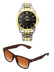 Orlando Chronograph Look Analogue Black Dial Mens Watch & BIG Tree Cinnamon Brown Color UV Protected Wayfarer Sunglasses Goggles Combo Set