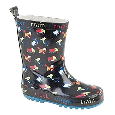 Little Boys Childs Train Truck Digger Wellies Wellington Boots Small Sizes 4-10