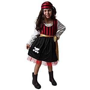 Red & Black Pretty Pirate Dress & Handkerchief - Toddler & Kids (Choose Size)