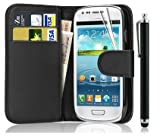 New Leather Wallet Flip Case Cover for Samsung Galaxy S3 Mini GT-i8190 WITH FREE SCREEN GUARD + STYLUS PEN (Black)