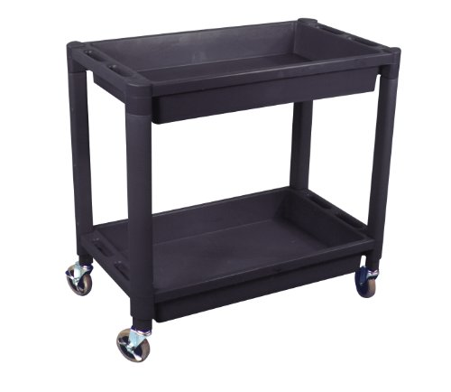 Astro Pneumatic 8330 Heavy Duty Plastic 2 Shelf Utility Cart, Black Color
