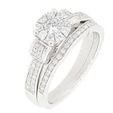buy Sterling Silver 2 Pieces Solitaire Cz Bridal Engagement Wedding Halo Ring Set (1/4 Ct)