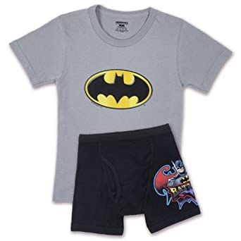 Fruit of the Loom Little Boys' Batman Underoos Prints Tee and Boxer Set, Multi, 7-8