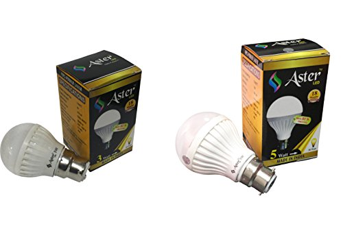 Aster 3W, 5W B22 LED Bulb (Pack Of 2, White)