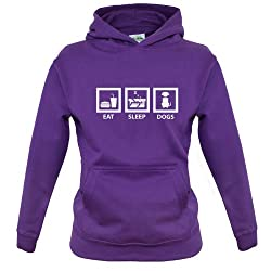 Eat Sleep Dogs - Childrens / Kids Hoodie - 7 Colours - Ages 1-13 Years