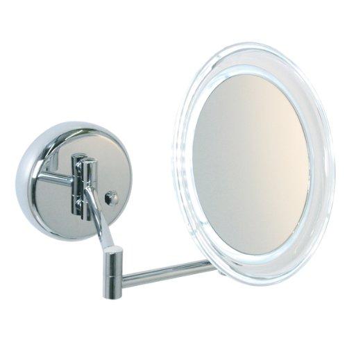 Enzo Rodi 413610 - Specchio da trucco LED ricaricabile con ingrandimento 5x e montaggio a parete
