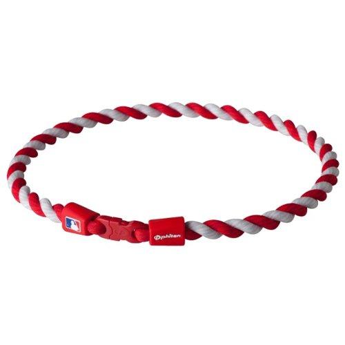 "Phiten Necklaces: Phiten MLB Tornado Necklace, Navy/White, 18"""