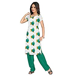Shopeezo White and Green Colored Poly Cotton Printed Dress Material