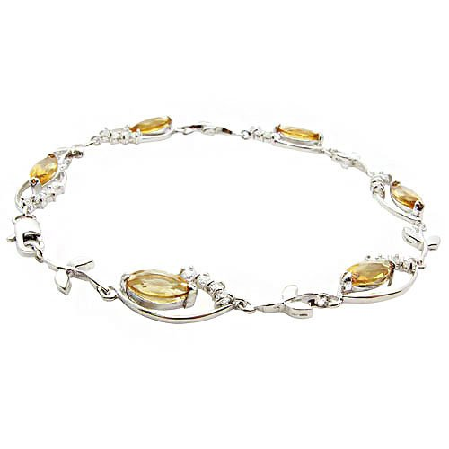New Arrivals Elegant 925 Sterling Silver Nature Citrine Bracelet