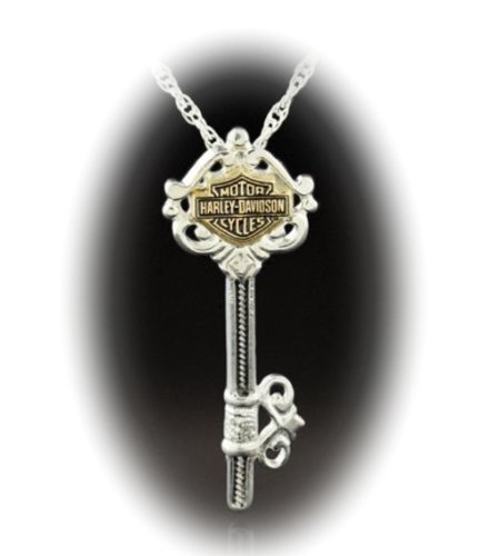 Harley-Davidson® Stamper® Sterling Silver and 10K Solid Gold Key Neclace. HN7432
