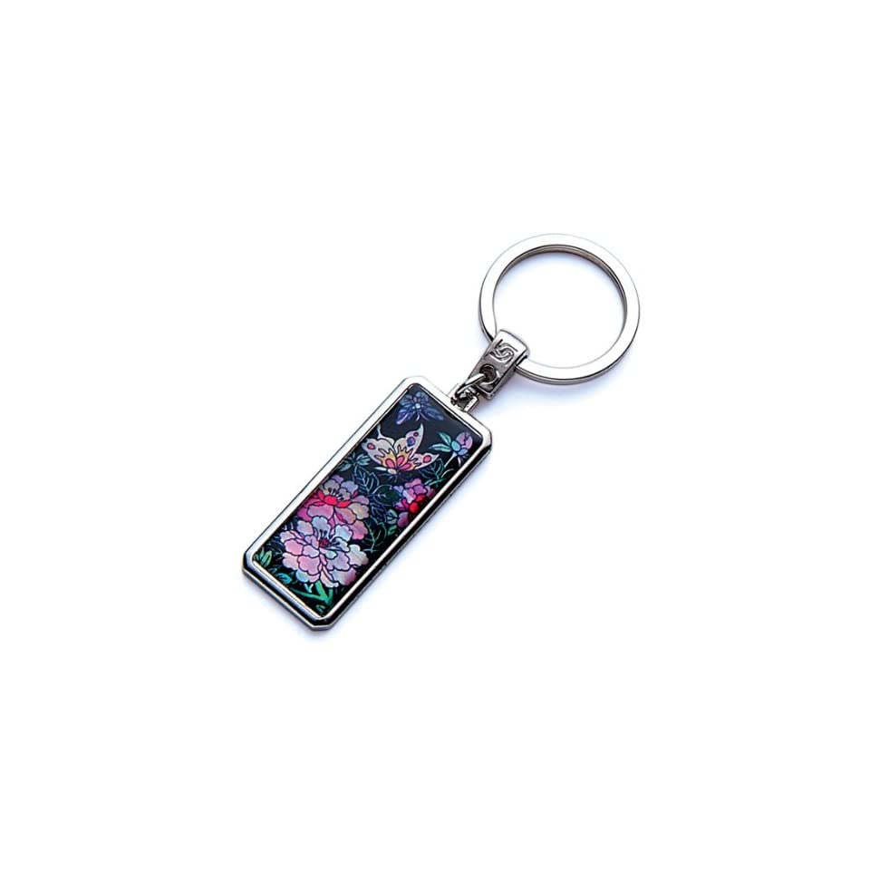 Mother of Pearl Pink Peony Flower Butterfly Design Handmade Craft Luxury Novelty Cool Metal Keychain Key Ring Fob Holder