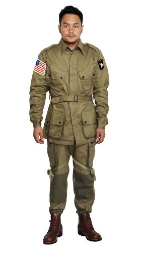 Men's Wwii Us M42 Airborne Jumpsuit Uniform Jacket and Trousers