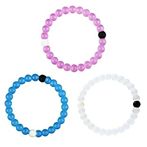 Classic Silicone Beaded Bracelet Expedited Shipping (S, Blue+Pink+Clear)