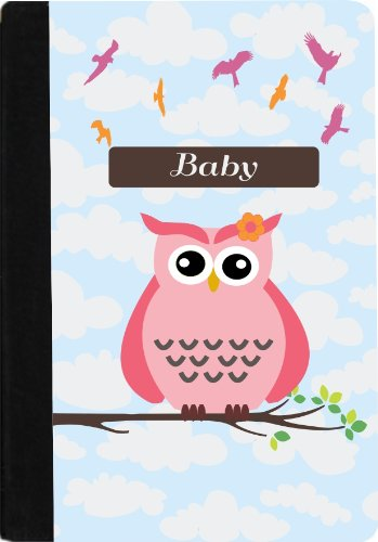 "Rikki Knighttm ""Baby"" Name - Cute Pink Owl On Branch With Personalized Name Faux Suede Notebook Binder Portfolio (Ruled Notebook Included) front-599251"