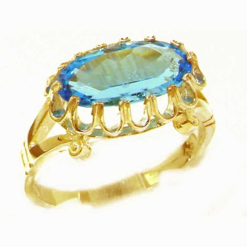 Quality Solid Yellow Gold Genuine 2.5ct Blue Topaz English Victorian Inspired Ring - Size 8.75 - Finger Sizes 5 to 12 Available