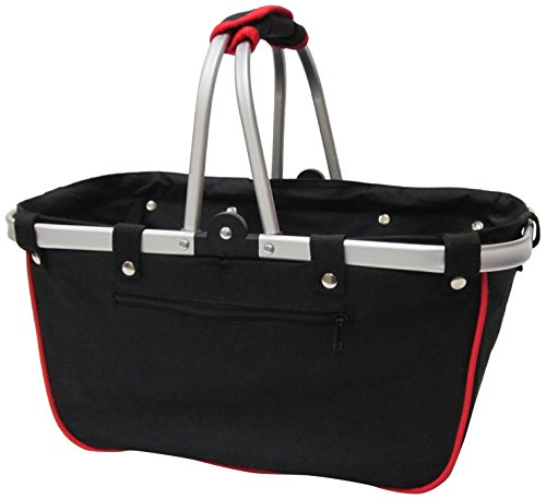 JanetBasket Large Aluminum Frame Basket, 18-Inch x 10-Inch x 9.5-Inch, Black/Red by NCM Canada, Inc.
