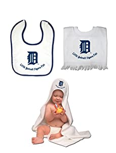 Detroit Tigers Sport Team Logo Pullover Bib and Snap Bib with Color Trim Hooded Towel... by cwatson