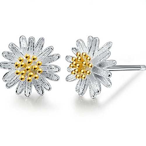 Winter's Secret Fashion Girl Lovely Little Golden Flower Holy Daisy Silver Stud Earring (Quest Wind Curtain compare prices)