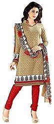 Beige Color Cotton Churidar Salwar Suit Unstitched Dress Materials