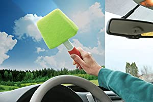 Auto Glass Cleaner Wiper with Built-in Sprayer Handle - Removable Washable Microfiber Wet Dry Cleaning Cloth Cover Keeps Cars Vehicles Interior Exterior Windshield Windows Clean by Perfect Life Ideas