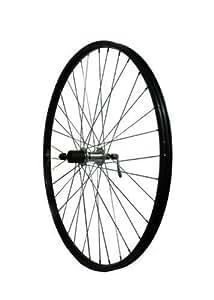 700c Alloy Q/R Rear Hybrid Bike Wheel with Shimano 8 Freehub in Black - TWR102BK